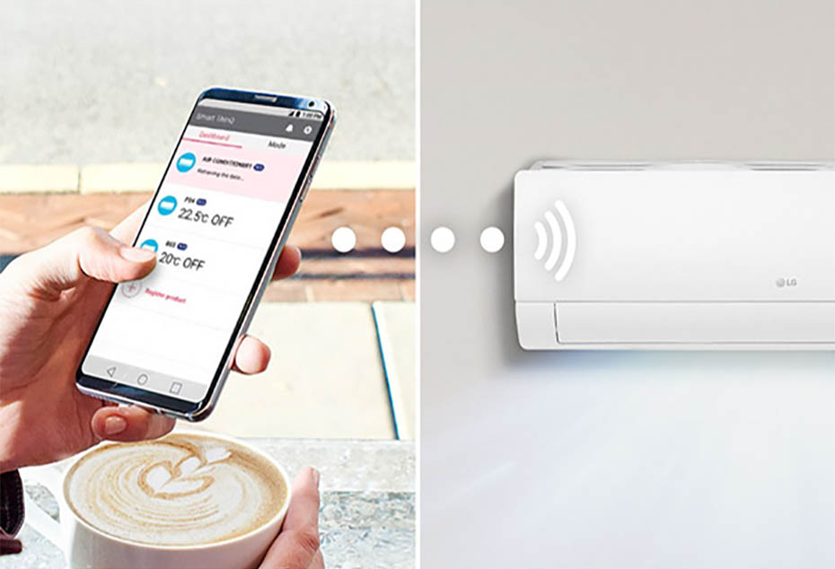 Person using smartphone to control air conditioner from a cafe