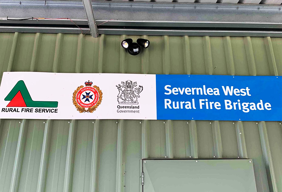 """""""Severnlea West Rural Fire Brigade"""" on signage on building exterior"""